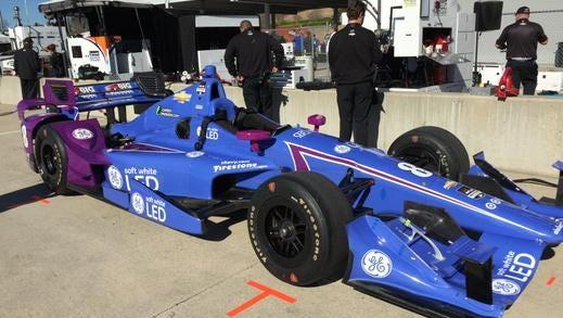 Sage Karam's car before Monday's crash at Barber Motorsports Park