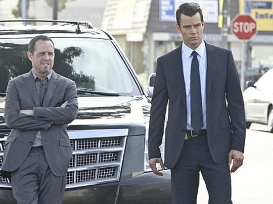 """Josh Duhamel, as polished FBI agent, contrasts with Dean Winters, as a weathered local detective in """"Battle Creek."""""""