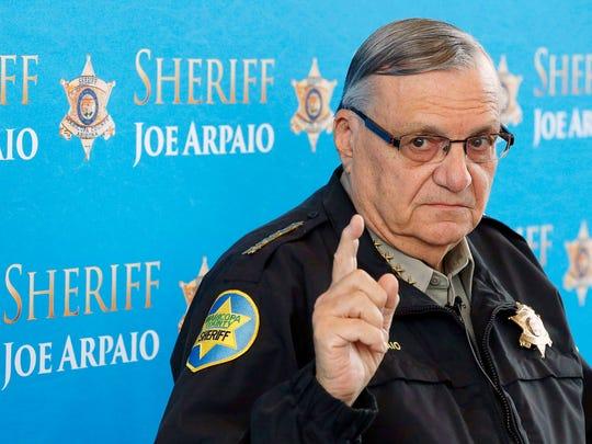 Maricopa County Sheriff Joe Arpaio speaks at a news