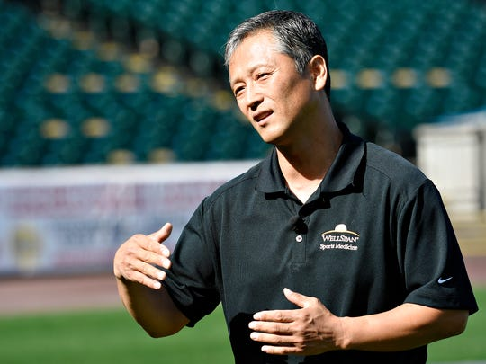 York Revolution Head Athletic Trainer Chong Choi talks about findings from a recent study done in coordination with WellSpan Health, and the and the effects of single-sport specialization during a media session at PeoplesBank Park in York City, Tuesday, Oct. 24, 2017.  Dawn J. Sagert photo