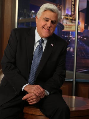 Jay Leno photographed on the set of his show in Burbank Studios.