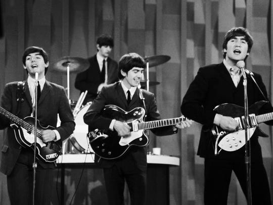 "The Beatles are shown during their performance on the ""Ed Sullivan Show"" on Feb. 10, 1964, their first appearance on American television."