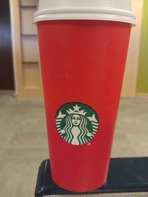 Starbucks red holiday cup.
