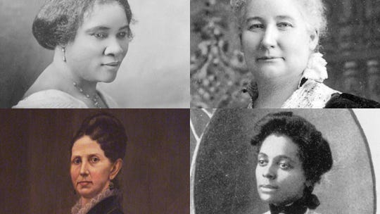 Madame C.J. Walker (clockwise from top-left), May Wright Sewall, Lillian J.B. Thomas and Lovina McCarthy Streight