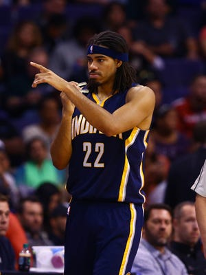 Indiana Pacers forward Chris Copeland reacts against the Phoenix Suns at US Airways Center.