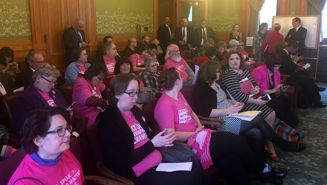 Supporters of Planned Parenthood, which opposed an abortion-related bill debated in an Iowa Senate subcommittee Tuesday, would be identified by the pink shirts they wore at the meeting at the Statehouse in Des Moines on Tuesday, Jan. 17, 2017.
