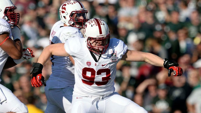 Stanford Cardinal linebacker Trent Murphy celebrates a touchdown against Michigan State on Jan 1, 2014, in the Rose Bowl.