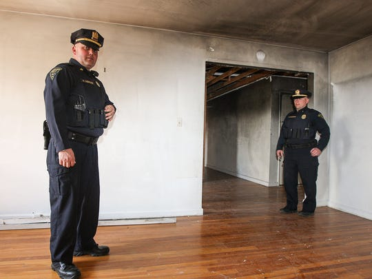 Detective Russell Luedecker, left, and Cranford Lt. Edward Davenport helped save an elderly man from a fire in this fifth-floor condominium unit in August 2014.