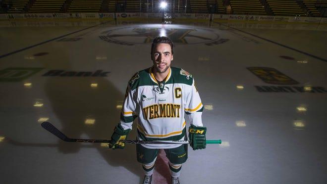 Senior Yvan Pattyn is the captain of the 2015-16 University of Vermont men's hockey team. Pattyn and the Catamounts open their season Saturday night.