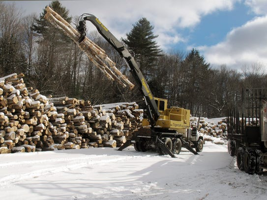 In this Jan. 20, 2016 photo, logs destined for a mill