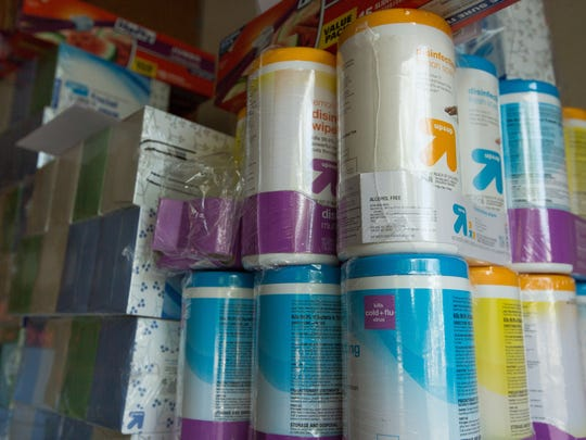 Tissue paper and cleaning wipes Las Cruces Moms will be giving away to educators Tuesday, August 2, 2016. Las Cruces Moms fundraised more than $5,500 with their annual Mix & Mingle event giving away school supplies to teachers for their classrooms.