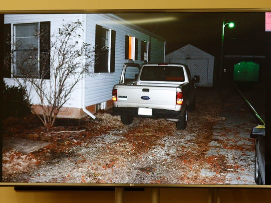 A photograph of Craig Wood's truck is shown in court