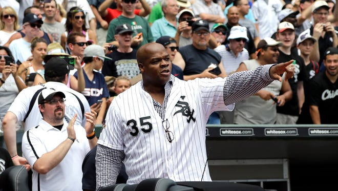 Former Chicago White Sox star Frank Thomas arrives for a ceremony July 18, 2015, in Chicago.