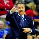 Mar 19, 2016; Des Moines, IA, USA; Kentucky Wildcats head coach John Calipari reacts in the second half against the Indiana Hoosiers during the second round of the 2016 NCAA Tournament at Wells Fargo Arena. Mandatory Credit: Jeffrey Becker-USA TODAY Sports ORG XMIT: USATSI-264928 ORIG FILE ID:  20160319_pjc_bc9_106.JPG