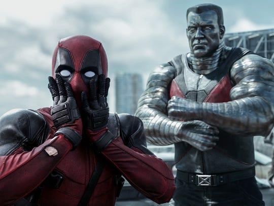 "Ryan Reynolds (left) stars in the 2016 movie ""Deadpool."""