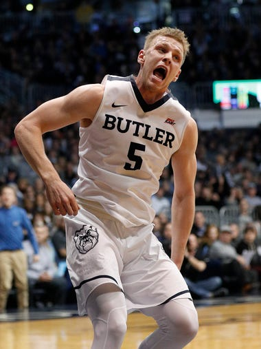 Butler Bulldogs guard Paul Jorgensen (5) celebrates