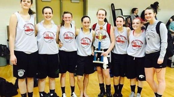 The Lady Xplosion 12th grade basketball team.
