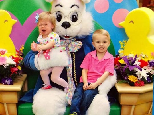 Aria, 1, isn't into the Easter bunny. Jaxon, 4, doesn't see a problem.