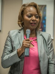 DeVona Sims (D) participates in a forum the Montgomery Advertiser held for District 5 candidates for the Montgomery County Board of Education on Thursday, May 24, 2018.