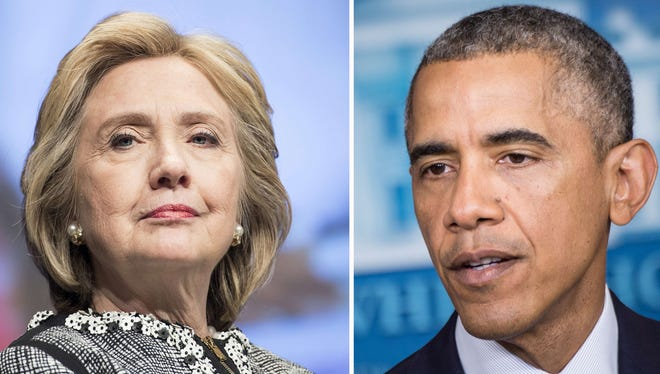 This combination of file photos shows Former US Secretary of State Hillary Clinton (L) and US President Barack Obama. Hillary Clinton may have distanced herself from President Obama's foreign policy, but he doesn't seem to have taken it personally: the two are due to attend the same soiree on Martha's Vineyard on Aug. 13.