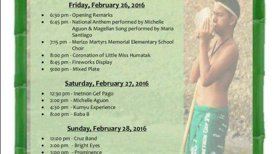 The entertainment schedule for the first of the two-weekend Guam History & Chamorro Heritage Day Festival.