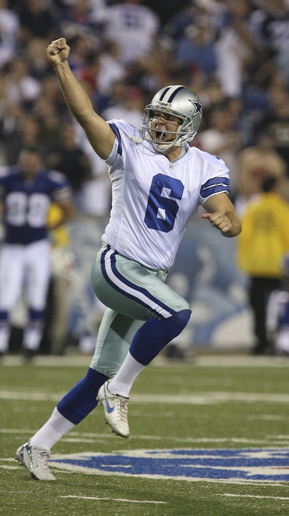 Cowboys kicker Nick Folk celebrates his 53-yard game