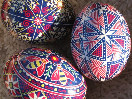 In addition to decorative beaded jewelry, Chillicothe Art League member Angie Terry also creates pysanky eggs, which are available for purchase in the gift shop at the Pump House Art Gallery.