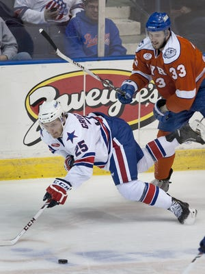 Mikhail Grigorenko has one goal in two games so far for the Amerks. Photo from April.