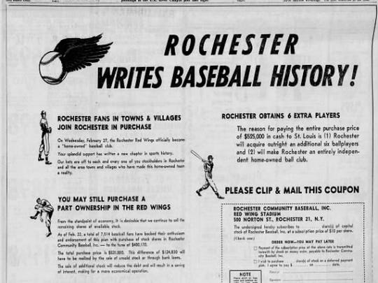 An ad that appeared in the Feb. 24, 1957 Democrat and Chronicle encouraging fans to keep pitching in to save the Red Wings.