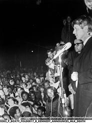 Sen. Robert F. Kennedy spoke from a flat bed truck