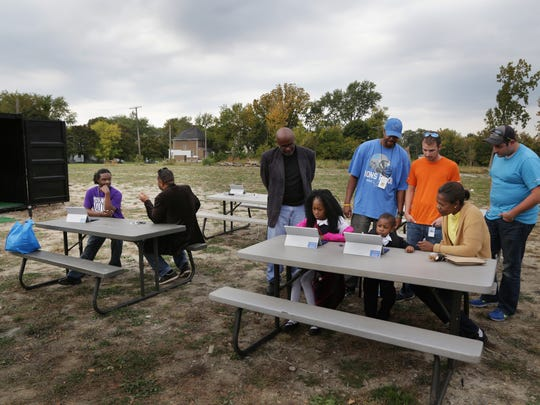The site of an outdoor popup in Indian Village in Detroit that acts as a hub for artists, students and entrepreneurs to meet, share and create on October 8, 2015.