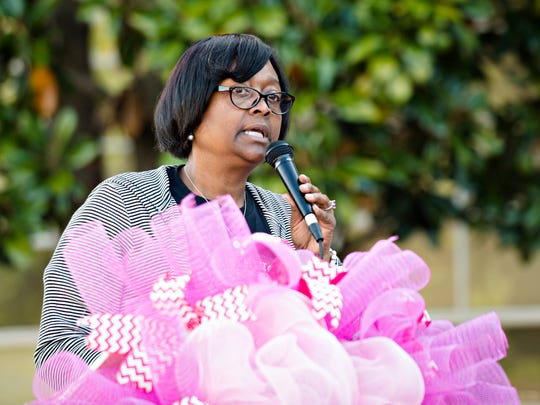 Cheryl Fountain, Capitol Heights Middle School principal, speaks during a tree dedication for shooting victim Maribel Rosales Barrera on Friday, March 31, 2017, at Capitol Heights Middle School in Montgomery, Ala. Maribel Rosales Barrera, 13, was shot and died on Park Avenue March 23, 2017. Barrera was a student at Capitol Heights Middle School.