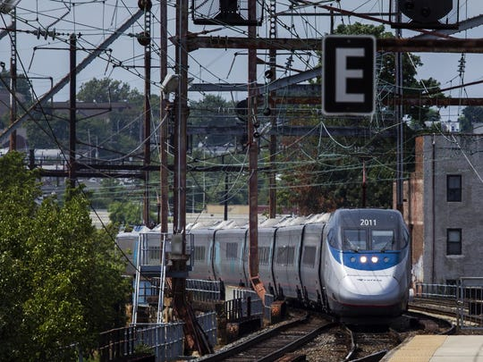 An Acela Express train pulls into Wilmington on Tuesday afternoon.