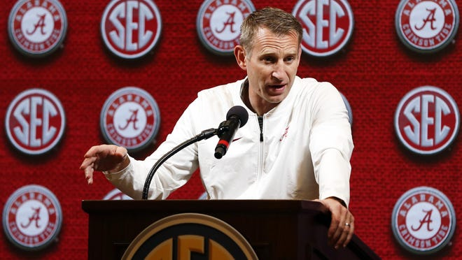 Alabama head coach Nate Oats speaks during the Southeastern Conference NCAA college basketball media day, Wednesday, Oct. 16, 2019, in Birmingham, Ala.