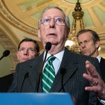 """FILE - In this Feb. 9, 2016 file photo, Senate Majority Leader Mitch McConnell of Ky. speaks on Capitol Hill in Washington. State and local governments would be permanently barred from taxing access to the Internet under a bipartisan compromise the Senate began pushing toward final congressional approval. McConnell said Thursday, Feb. 11, 2016,  the measure would relieve people of """"the worry that their Internet access is being taxed."""" (AP Photo/J. Scott Applewhite)"""