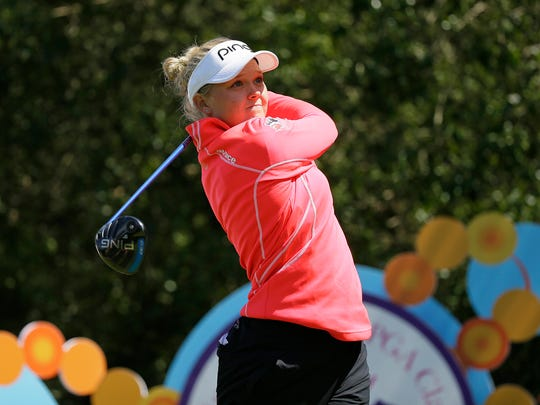 Brooke Henderson of Canada of the Lake Merced Golf Club follows her drive from the ninth tee during the second round of the Swinging Skirts LPGA Classic golf tournament Friday in Daly City, Calif.