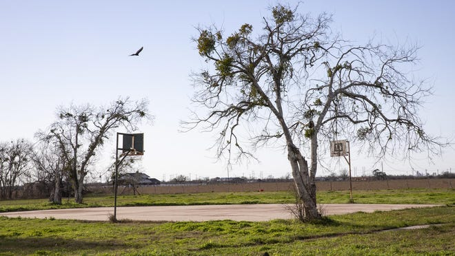 A carrion bird soars over a basketball court on the corner of EE Hatchett Avenue and Houston Street on Feb. 12, 2019, in Bloomington, Texas. The dilapidated public space in was selected by Dow Chemical for the Dow Gives Community Grant Program.