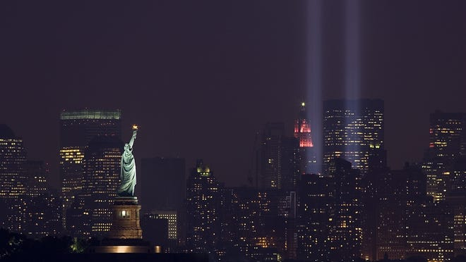 "The ""Tribute in Light"" marks the  September 11 Anniversary in New York taken from Bayonne, N.J. on Tuesday, Sept. 11, 2007."