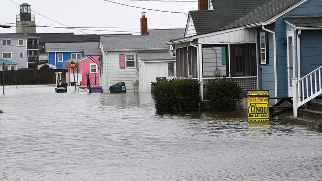 A nor'easter brought flooding to the side streets in Dewey Beach and Coastal Highway south of Dewey Beach Tuesday.