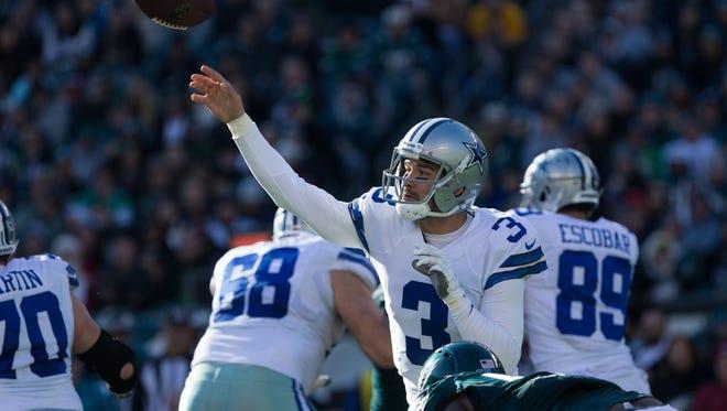 Dallas Cowboys quarterback Mark Sanchez (3) passes against the Philadelphia Eagles during the second quarter at Lincoln Financial Field.