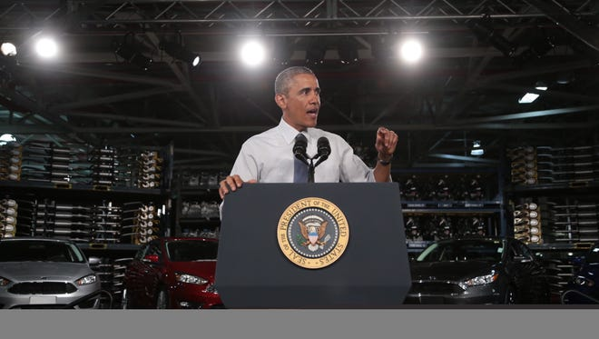 President Barack Obama speaks about the automotive manufacturing industry at the Ford Michigan Assembly Plant in Wayne on Jan. 7, 2015