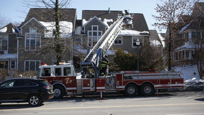 Firefighters responding to a fire at 8 Hommocks Road in  Mamaroneck Wednesday.