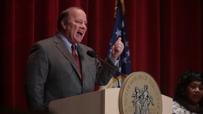 Detroit Mayor Mike Duggan gives his 2nd State of the City address at the Old Redford Theatre in Detroit on Tuesday February 10, 2015.