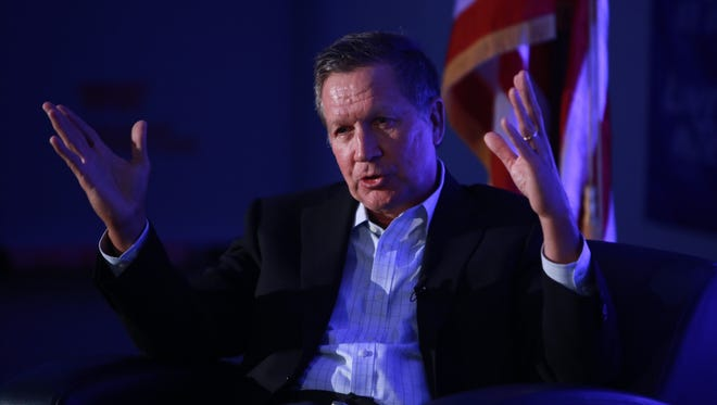 Ohio gov. John Kasich, a Republican candidate for president, speaks during a round table event on Monday August 31, 2015 at the University Technology Center on the Lawrence Tech University campus in Southfield.