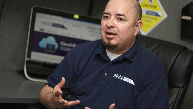 Aaron Garcia, CEO of SiliconMesa, speaks at the Arrowhead Center.  Courtesy photo by Robert Yee