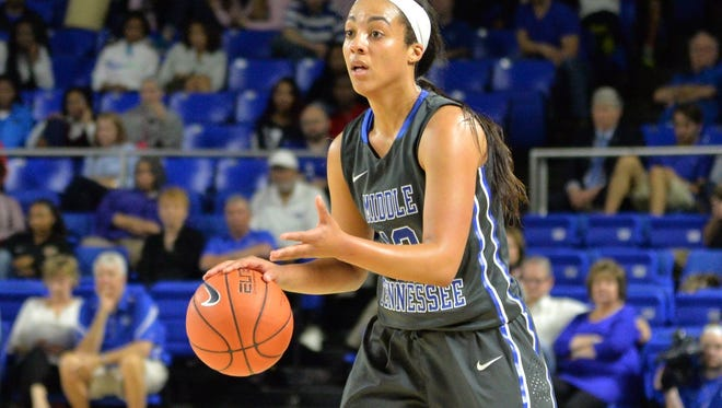 MTSU's Brea Edwards (12) joined teammate Ty Petty in scoring 17 points and collecting seven rebounds.