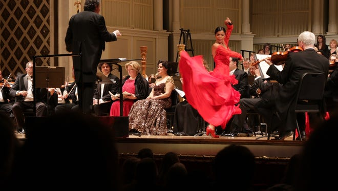 "Flamenco dancer Nuria Pomares added lively color to the CSO's ""La vida breve"" in Music Hall."
