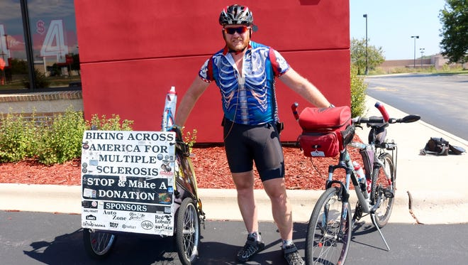 Thomas Beasley, from Anaheim, California, has biked across the country 64 times to raise money for multiple sclerosis. His latest stop was Sheboygan on Sept. 6.