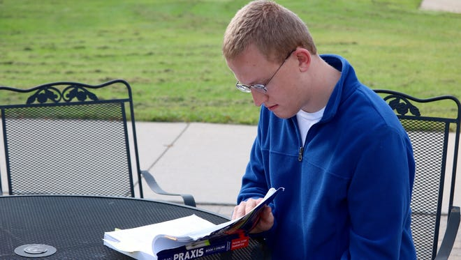 Lakeland University senior Jacob Nault is studying for his Praxis tests with hopes of becoming a music teacher while watching competition increase for teaching jobs in his subject of choice.