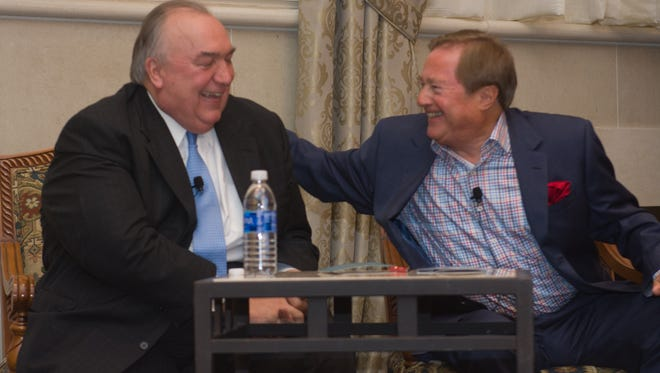 Former Michigan Governors John Engler, left, and James Blanchard both spoke at a Citizens Research Council dinner in Plymouth on Thursday.